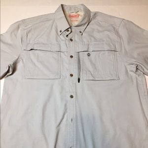 Mens Coleman Shirt Adventure Stretch Cotton Grey L